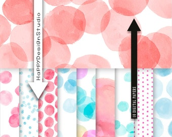Red blue dot digital paper dots scrapbooking papers polka dot confetti party baby shower pink dotted watercolor watercolour blog design DIY
