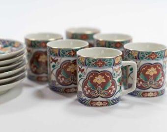 Set of Six Vintage Japanese Porcelain Demitasse | Espresso Cups & Saucers Imari Pattern Made in Japan