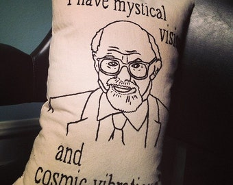 Allen Ginsberg Portrait and Quote Embroidered Pillow