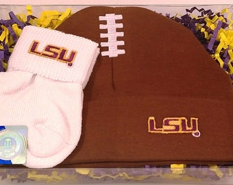 LSU Tigers Baby Football Cap and Socks Set