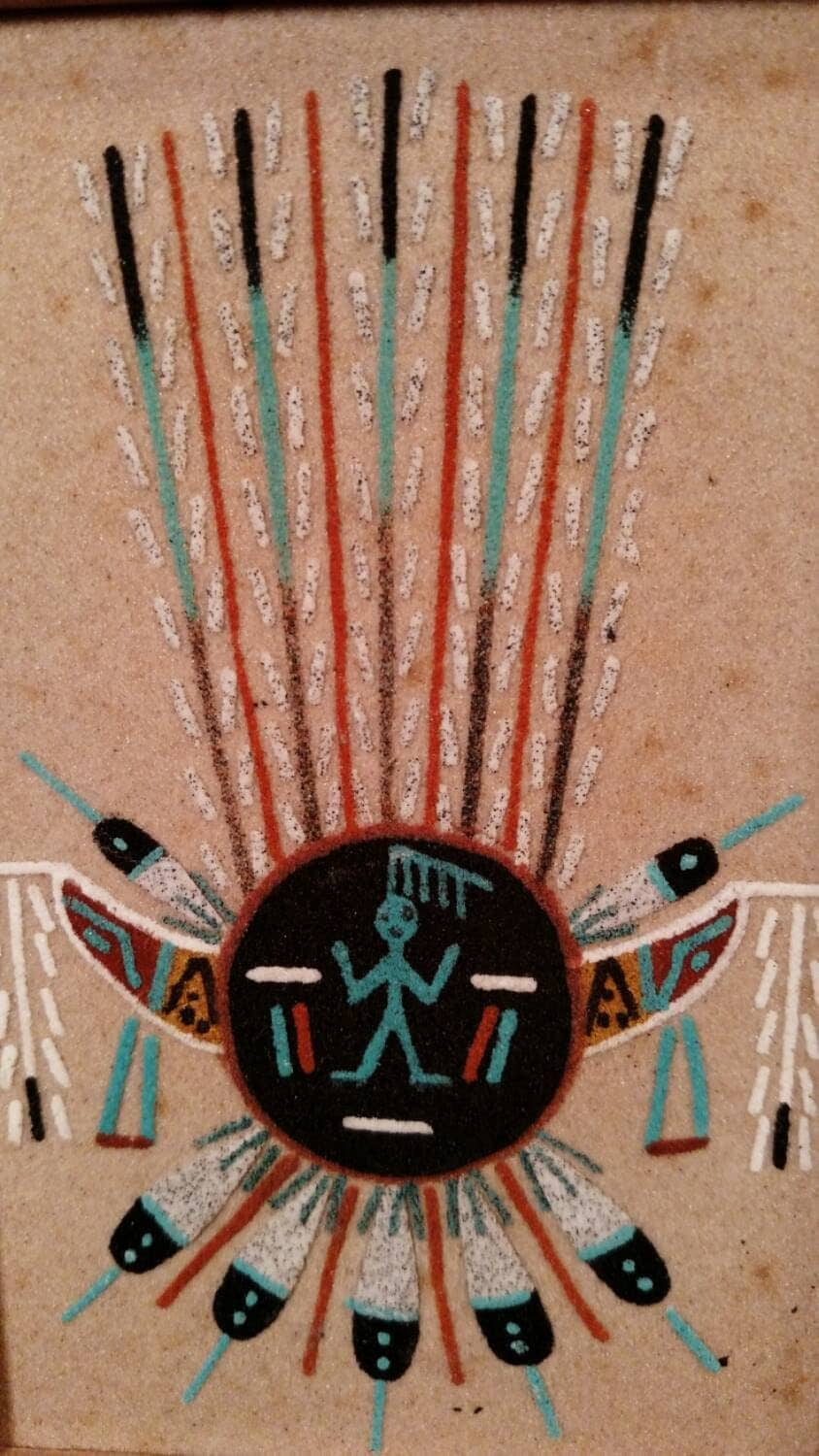 Collectible Navajo Rain Art Sand Painting / Framed Sand ...