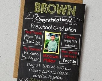 PRESCHOOL Graduation Invitation or Kindergarten Custom Print Chalkboard Sign - Get it FASTClass of 2029  -  Digital Download Printables