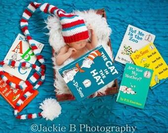 Newborn/Baby Photo Prop, Crochet Elf Hat, Dr Seuss Photo Prop