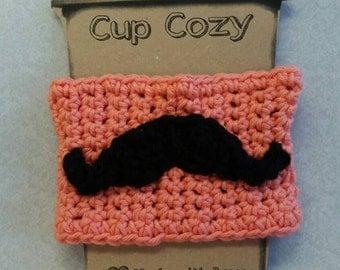 Coral/Mustache Mug Cozy