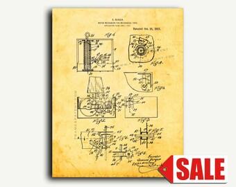 Patent Art - Motor Mechanism For Mechanical Toys Patent Wall Art Print