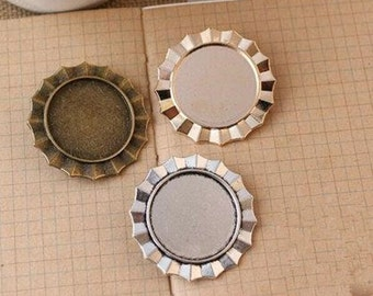 Wholesale 20pcs Handmade Badge Brooch/Pin/Breast Pin Pendant Trays  -25mm Bezel Cabochon Settings - Pendant Tray Blanks
