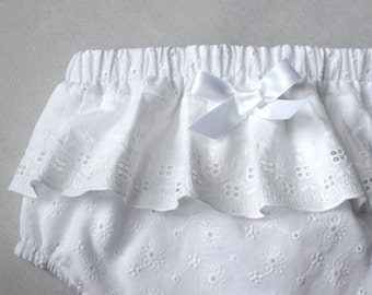 Baptism Bloomers, White Christening Baby Bloomers, Lace Baby Diaper Cover, Newborn Eyelet Bloomer