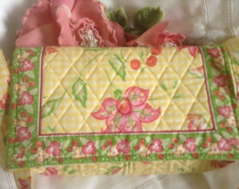 OK Floral Cotton Pocketbook Clutch NEW Washable Retired Yellow Gingham Pink Green Quilted Flap Strap Flowers Leaves Botanical Summer Gift
