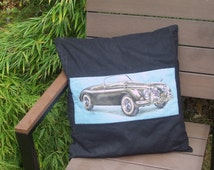 Cushion cover (45 or 50 cm pad), vintage car design centre, black needlecord fabric background, new black buttons at the back. Free UK P&P