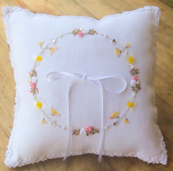 Embroidered ring bearer pillow wedding by