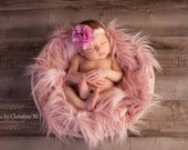 Blushing Pink Faux Fur Baby Newborn Prop, Photography Props, similar to Flokati Wool,  Long Pile Artificial Fur Rug Basket Stuffer