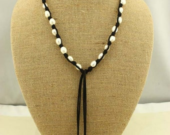 S264-1 ,11-12 mm rice pearls necklace, leather cord necklace for gottagetdeb
