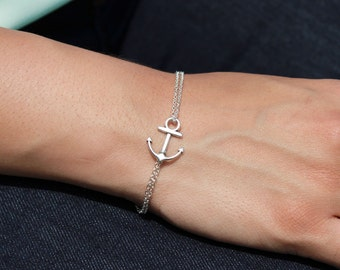 Sideways Silver Plated Nautical Anchor Bracelet - Adjustable, Bridesmaids, Gifts, Best Friends