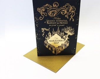 Harry Potter inspired Marauder's Map greeting card, printed in gold metallic foil. Size A6.