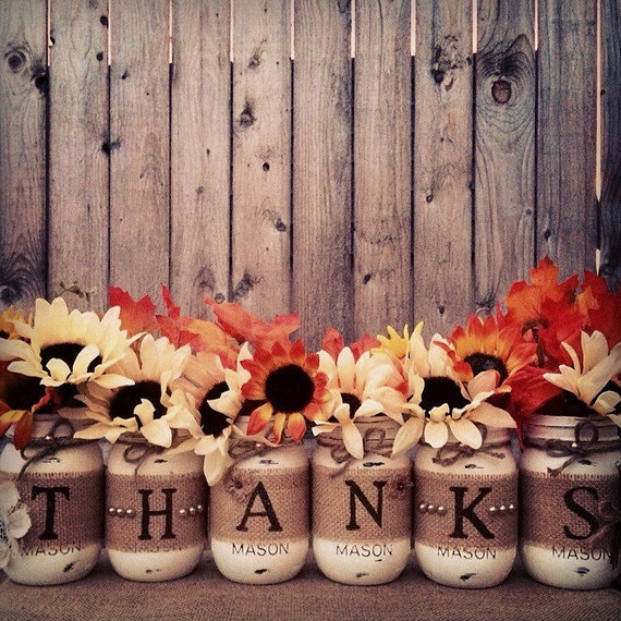 Items similar to thanks mason jars thanksgiving mason jars thanksgiving decor fall decor - Thanksgiving decorations ...