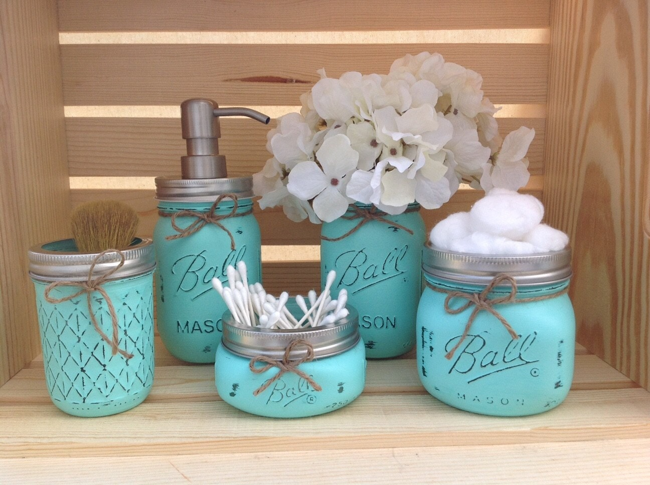 Mason jar bathroom set mason jars bathroom decor bridal by for Bathroom decor mason jars