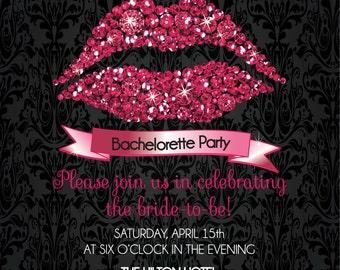 Diamond Lips Bachelorette Invitation • Sparkly Pink Kissing The Single Life Good-Bye Party Invitation