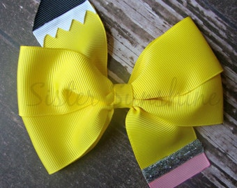 Back to School Hair Bow, Pencil Hair Bow, Yellow Bow