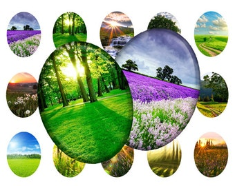 Summer landscapes - 30x40 mm Ovals graphics for scrapbooking, stickers, Digital collage sheet, 25 Images File 8,5 x 11