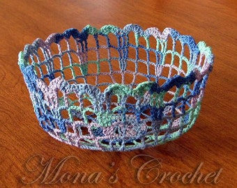 Hand Crocheted Variegated Blue Doily Bowl for Home Decor | Doily Bowl | Doily | Doily Basket | Crochet Basket | Crochet Bowl