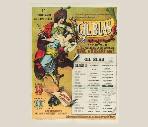 1890s Gil Blas Petits Champs Emile Levy Original Poster on Linen 51 x 37 inches