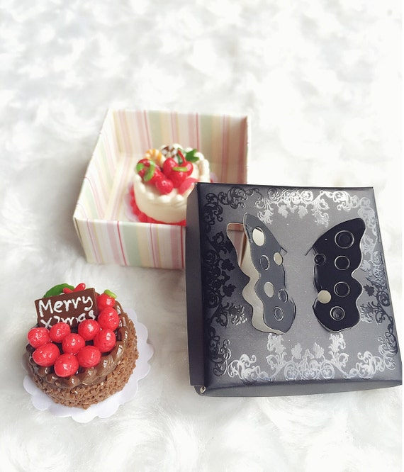 Miniature Cake Box,Miniature Paper Box,Miniature Gift Box,Miniature Package,Dollhouse Package,Dollhouse Box,Paper Box,Gift Box,Miniature Box