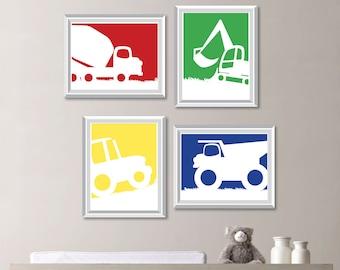 Baby Boy Nursery Art. Construction Nursery Art. Construction Nursery Decor. Construction Art. Construction Decor. Boy Bedroom Art. NS-743