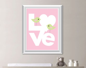 Baby Girl Nursery Art. Girl Nursery Decor. Girl Bedroom Art - Girl Bedroom Decor. Bird Print. Bird Art. Bird Nursery Art. Bird Decor. S-420