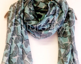 Butterfly Light Blue Summer Scarf / Spring Scarf / Gift For Her / Womens Scarves / Gift Ideas / Fashion Accessories