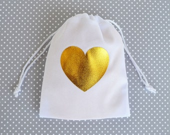 Gold Heart Favor Bag - Wedding Favor bags - Bridal Shower Favor Bags