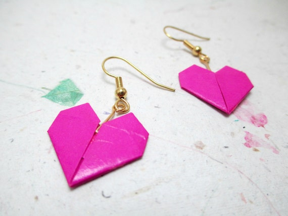 Origami Jewelry: Origami earringsfuschia jewelry fuschia - photo#5