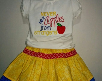 Girls Snow White Never Take Apples From Strangers Birthday Princess Boutique Skirt Set Outfit! Twirly Skirt! Embroidered Applique Shirt!