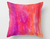 Purple, Pink and Orange Watercolor Art, Throw Pillow, Home Decor, Accent Pillow, with Optional Insert