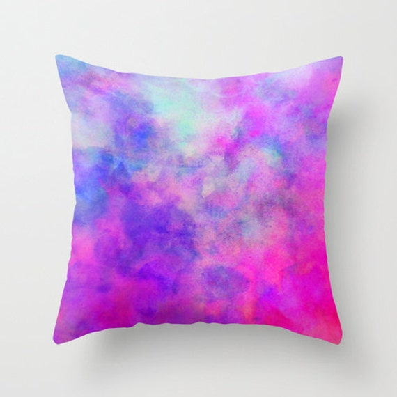 Blue And Pink Decorative Pillows : Blue and Pink Watercolor Pillow Throw Pillow Home Decor