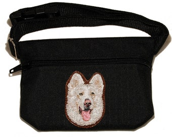 Embroided dog treat waist bag. Breed - White Shepherd. For dog shows and training. Great gift for breed lovers.