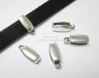 10pcs Flat charm holder 10x2mm Flat leather slider Leather bracelet findings