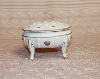 Vintage Footed Japan Trinket Jewelry Box Home Decor