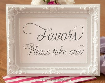 Favors / Favours Sign - Wedding Black and White Sign - Gift Table Signage - Wedding Reception Table Sign  (Without Frame) WED025