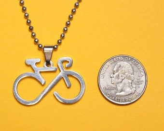 Infinity Bicycle Pendant Stainless Steel, Shiny Polished Finish -  Handmade rubber cord and Stainless Steel chain necklace included