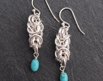 Byzantine Chain Maille Earrings - Sterling Silver with Turquoise