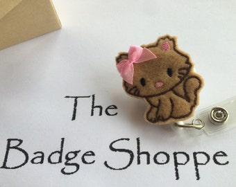 Brown Kitten made of Felt on a Retractable ID Badge Holder