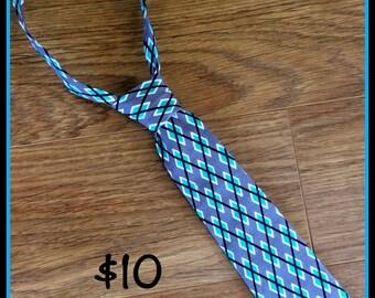 Handmade Boy Necktie / Black, Grey and Teal Argyle / Little Boy Tie