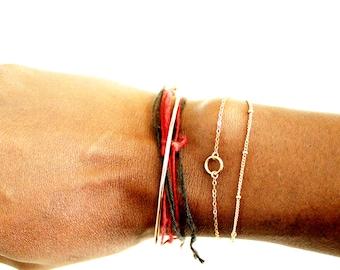 Karma Bracelet, Tiny Eternity Bracelet, Everyday Bracelet, Circle Bracelet, Simple Gold Bracelet, Dainty Bracelet, Good Vibes Bracelet