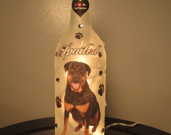 Rottweiler Wine Bottle Night Light