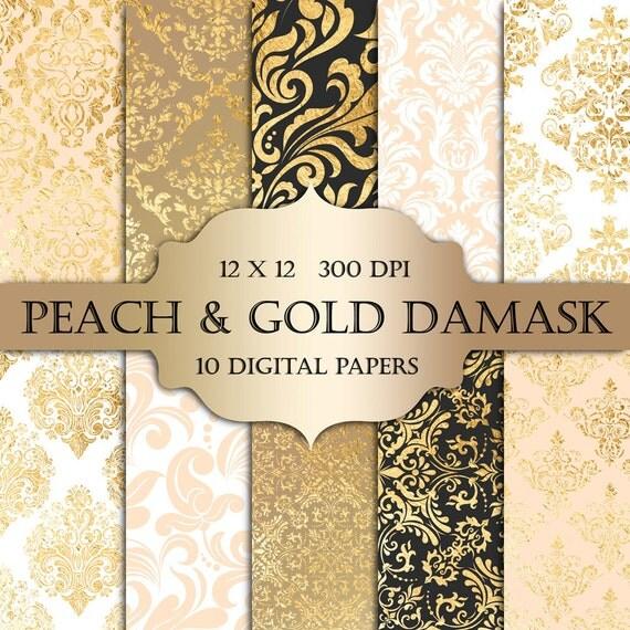peach  u0026 gold foil damask digital paper pastel peach gold