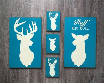 FREE SHIPPING! Deer Silhouette Sign - Wood Signs - Primitive decor - Primitive Signs - Primitive Wall Decor - Primitive Deer Sign