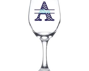Split letter chevron wine glass- Personalized wine glass, Great engagement gift, bachelorette gift or shower gift!!