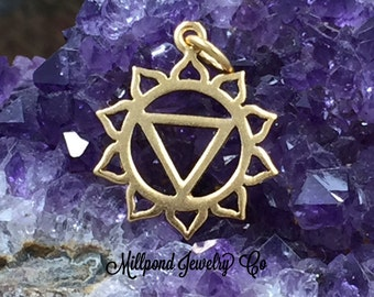 Chakra Charm, Solar Plexus Chakra Charm, Yellow Chakra Charm, Gold Plated Sterling Silver Charm, PG0156