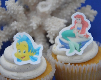 Ariel Cupcake topper, edible ariel topper, ariel edible image, little meermaid, cupcake topper