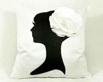 silhouette pillow, anniversary, decorative pillows, throw pillows, wedding, christmas, present, birthday ideas, bridesmaids gifts